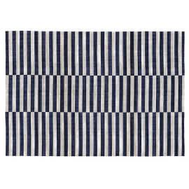 Tapis ligne bleu en coton plat moderne Bangui