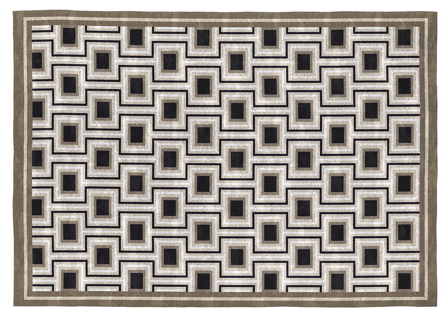 Tapis noir design plat géométrique Daven