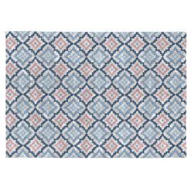 Tapis bleu design pour salon plat Hansel