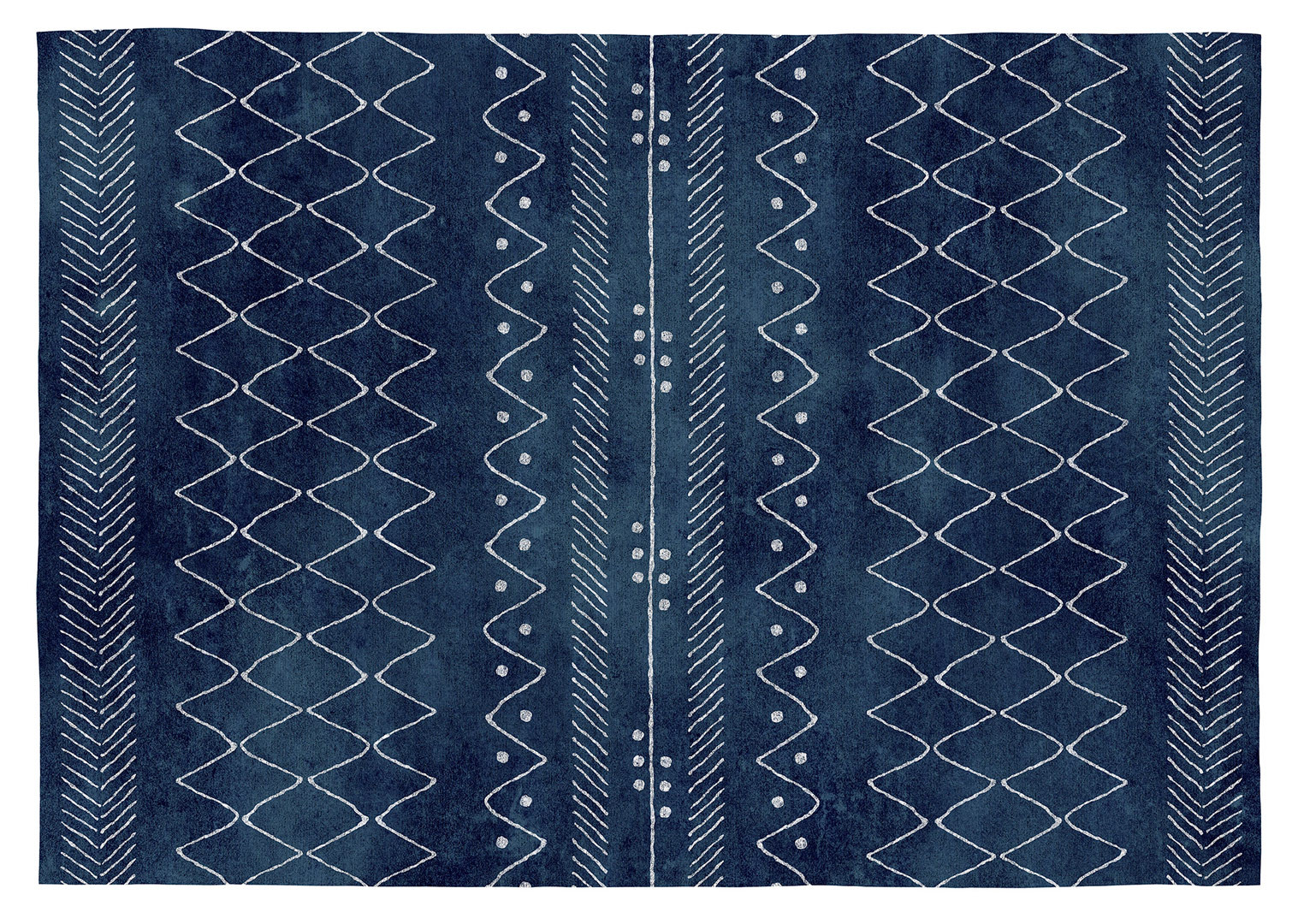 Tapis en coton ethnique bleu plat Vivabita Harold