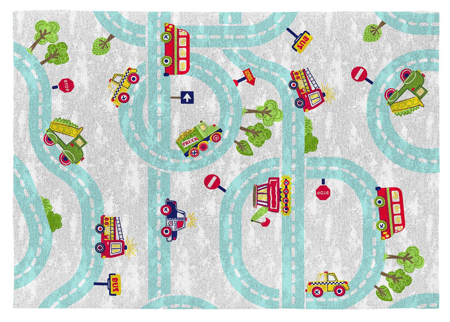 Tapis circuit multicolore enfant plat en coton Highway