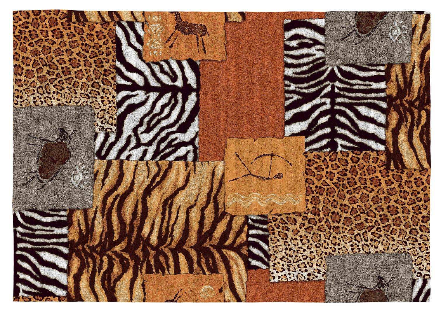 Tapis ethnique safari coloré plat en coton Kampala