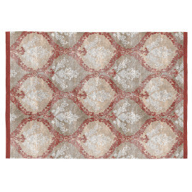 Tapis beige et orange baroque rectangle plat Kelpie