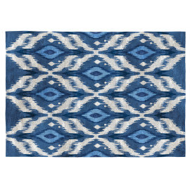 Tapis ethnique bleu coton plat Kigali