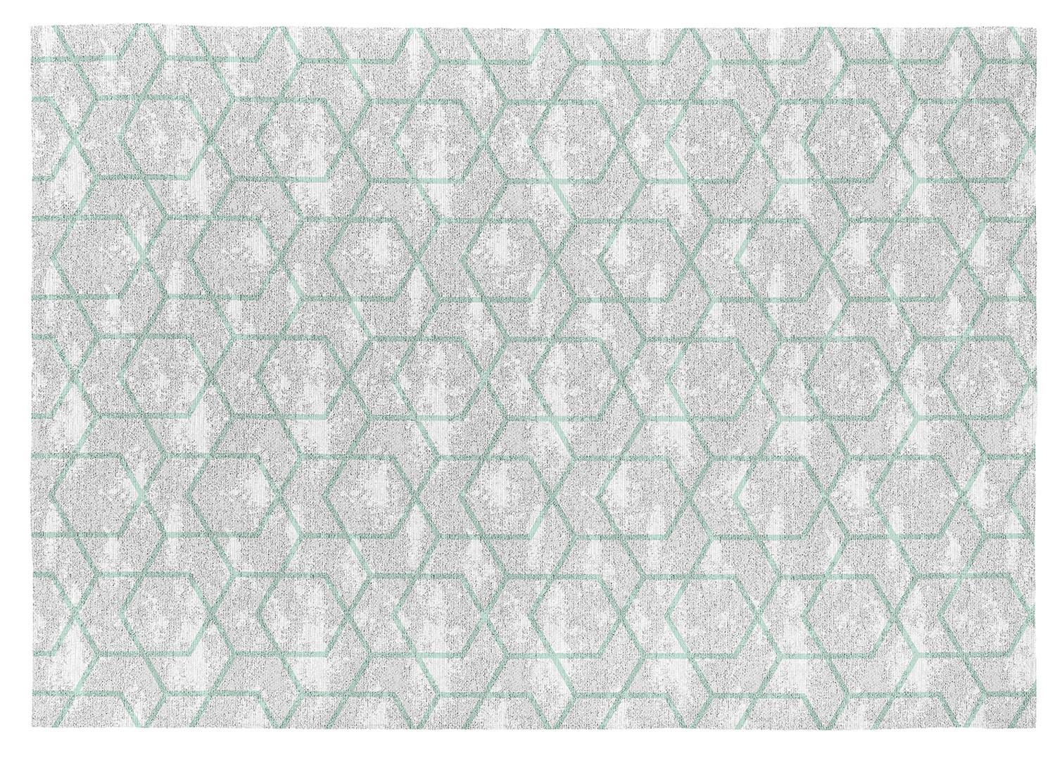 Tapis scandinave vert en coton plat Laisa