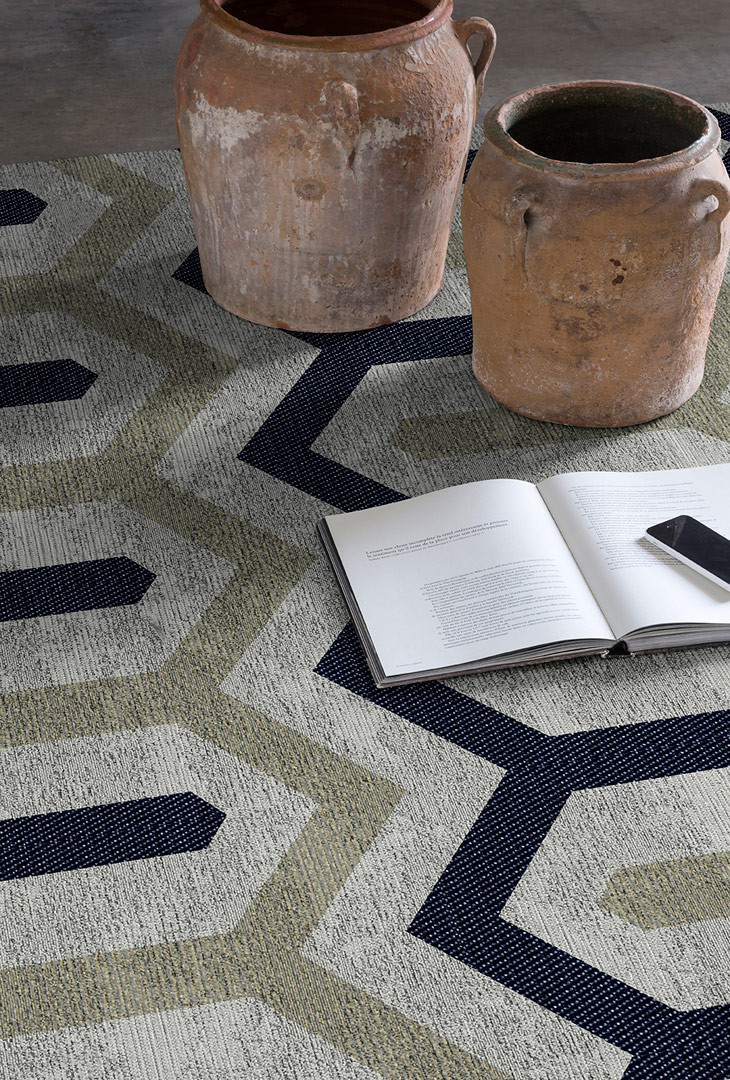 tapis jaune et bleu plat en coton design lena. Black Bedroom Furniture Sets. Home Design Ideas