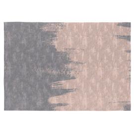 Tapis plat en coton rose et gris pour salon Leven