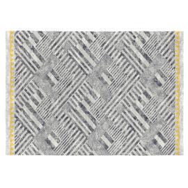 Tapis de salon design gris plat en coton Loira