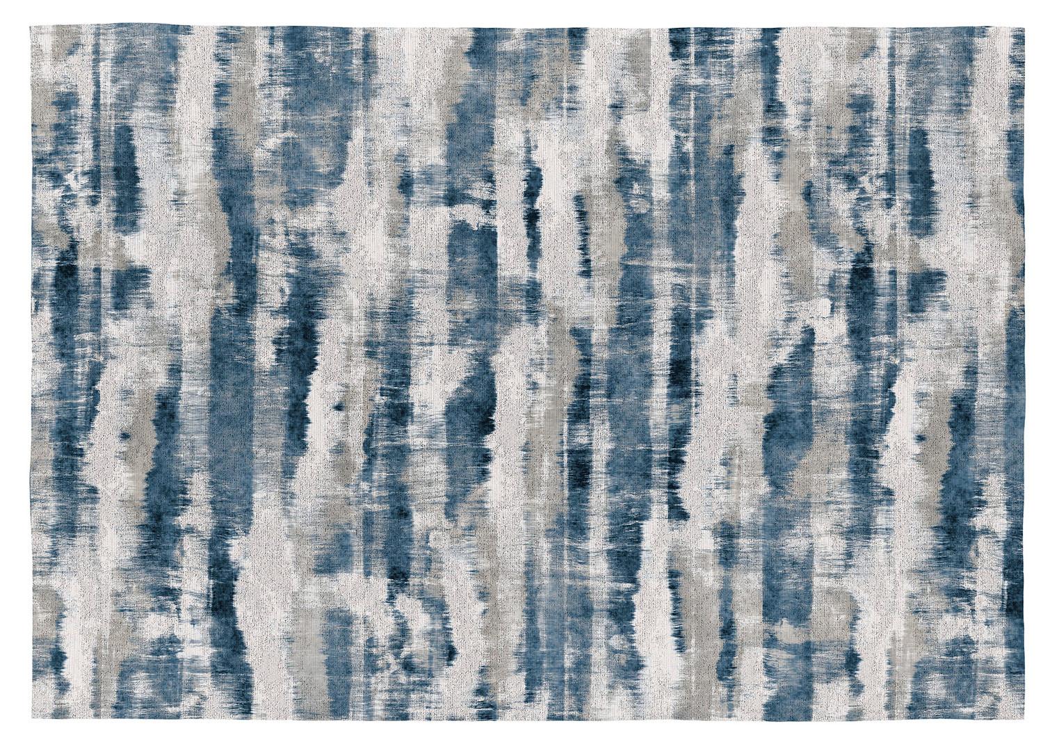 Tapis rayé bleu plat intérieur Lusaka