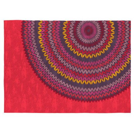 Tapis rouge design pour chambre en coton Mandala