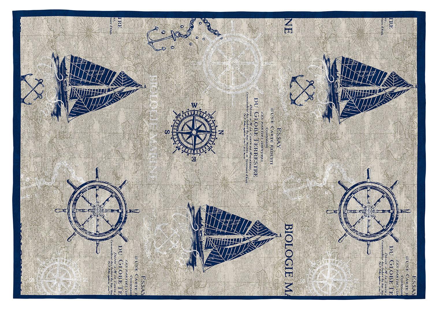 Tapis bleu plat intérieur marin Noronha