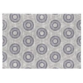 Tapis moderne gris et bleu en coton plat Olimpia