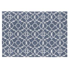Tapis bleu de salon plat design en coton Nicosia