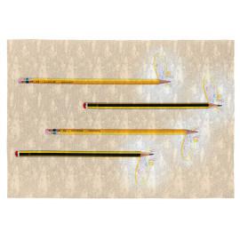 Tapis enfant beige plat en coton rectangle Pencils