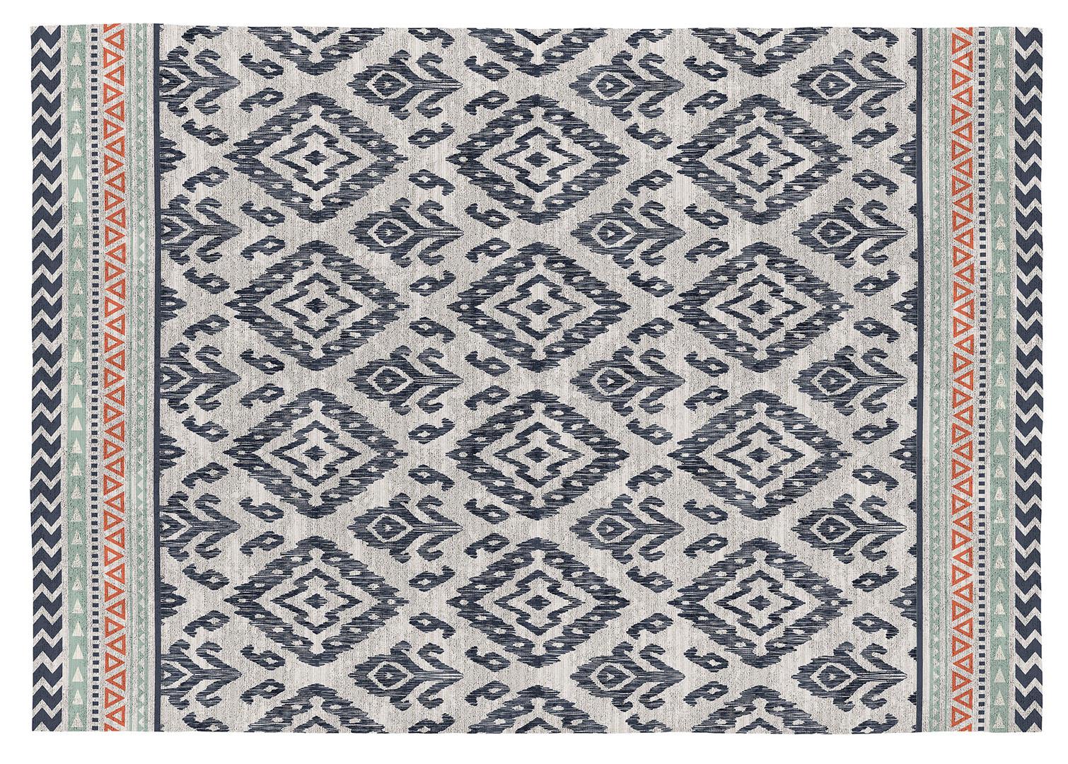Tapis moderne pour salon bleu plat Rania