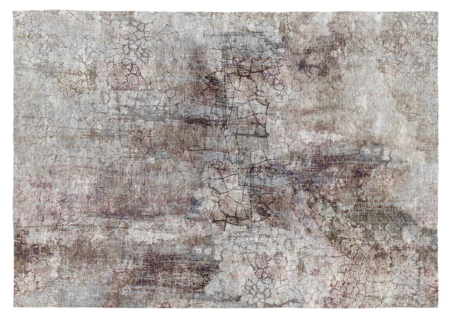 Tapis vintage rayé gris en coton plat Samani