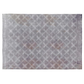 Tapis ethnique gris rectangle en coton Selena