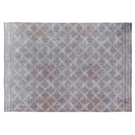 Tapis ethnique gris rectangle en coton Selena