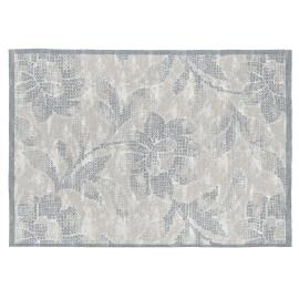 Tapis fleuris gris plat en coton Sigrid