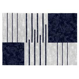 Tapis contemporain bleu en coton plat Tokio