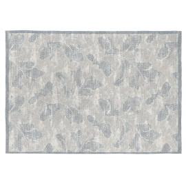 Tapis à motifs fleuris gris plat en coton Tyra