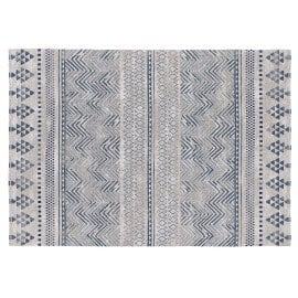 Tapis gris ethnique rectangle plat Volga