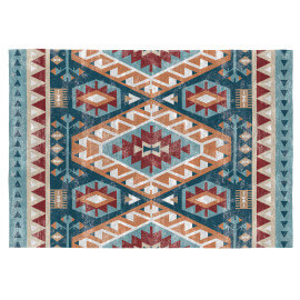 Tapis rectangle kilim multicolore plat Xenia