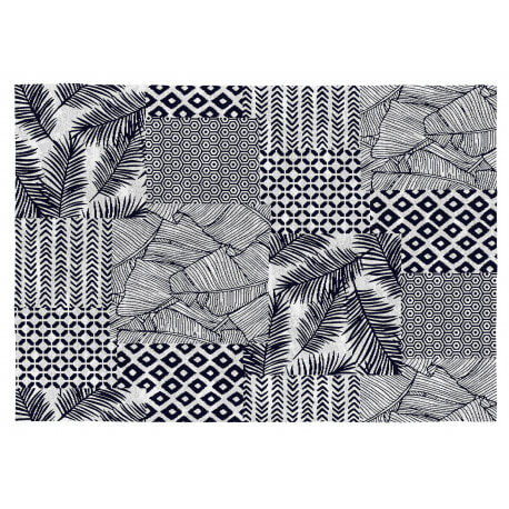Tapis gris ethnique plat rectangle coton Yamena