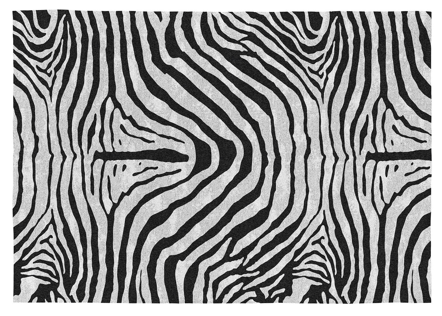 Tapis zébré noir et blanc plat ethnique en coton Yaunde