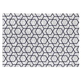 Tapis scandinave noir en coton plat Laisa