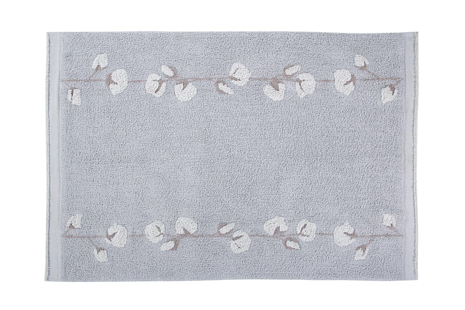 Tapis floral lavable en machine à courtes mèches gris Cotton Bolls Lorena Canals