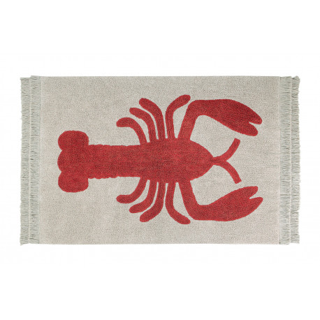 Tapis avec franges beige design Lobster Lorena Canals