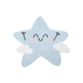 Tapis enfant en forme d'étoile bleu Happy Star Lorena Canals