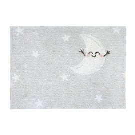 Tapis lavable en machine enfant gris Happy Moon Lorena Canals