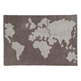 Tapis gris de chambre enfant doux World map Lorena Canals