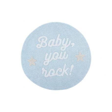 Tapis rond enfant lavable en machine bleu Baby, you rock! Lorena Canals