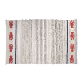 Tapis lavable en machine beige avec franges Mini Lobster L Lorena Canals