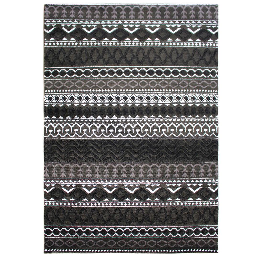 Tapis berbère noir ethnique à mèches courtes Gitsy