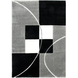 Tapis noir contemporain effet 3D à courtes mèches Vigia