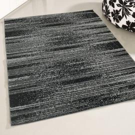 Tapis noir design rectangle rayé Blida