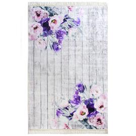 Tapis floral avec franges lilas Moonstone