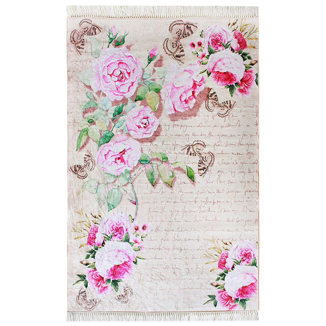 Tapis avec franges antidérapant floral rose Liana