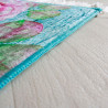 Tapis floral turquoise avec franges plat John