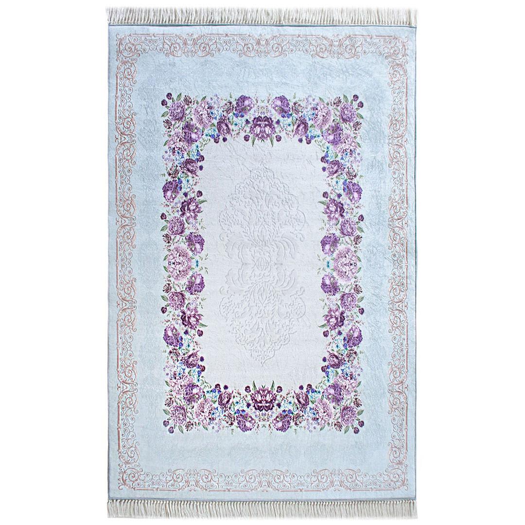 Tapis de salon turquoise floral plat avec franges Land