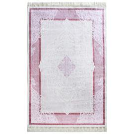 Tapis baroque plat avec franges rose Orphee