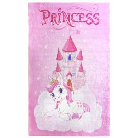 Tapis chambre enfant princesse rose plat Noma