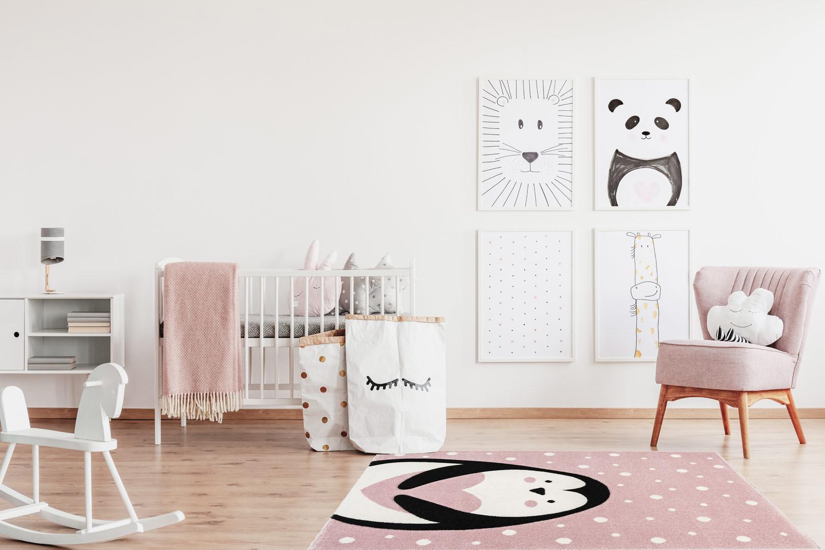 Tapis de chambre enfant rose effet 3D Ava