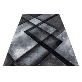 Tapis noir géométrique à courtes mèches Neron