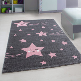 Tapis rose pour enfant rectangle Suzy