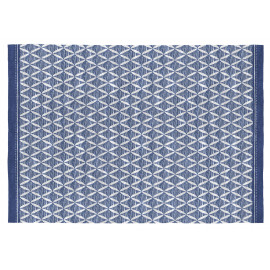 Tapis design bleu plat pour salon rectangle Long Beach